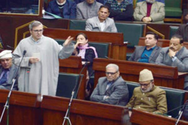 Omar stands up to speak on education sector as Altaf wins praises from treasury, opposition benches