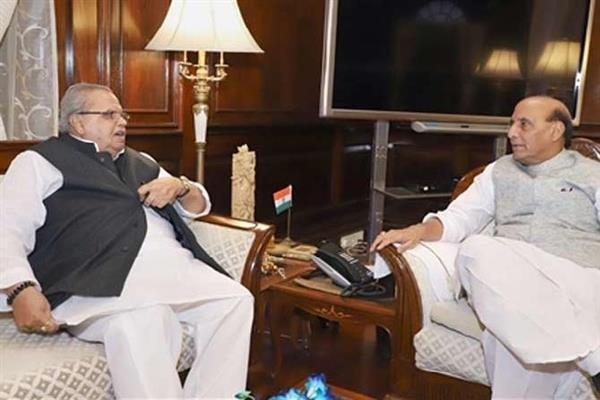 JK Governor meets HM Rajnath Singh in Delhi