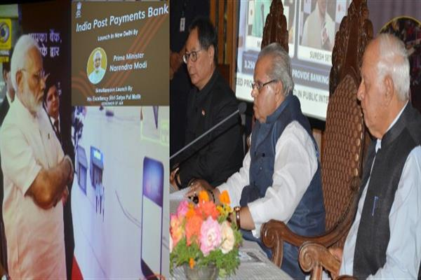 Governor launches India Postal Payments Bank in J&K