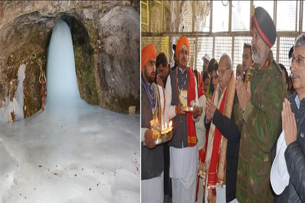 Governor pays obeisance at the Holy Cave; prays for sustained peace, harmony in J&K