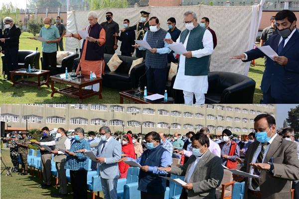 Gandhi Jayanti Celebrations: Lt Governor administers Swachhta Pledge to officers, officials of Raj Bhavan and Civil Secretariat