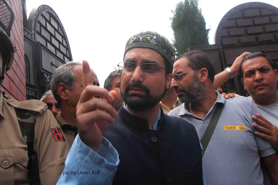 Police on Monday arrested Mirwaiz Umar Farooq outside his Nigeen residence.