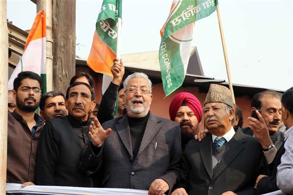 Congress stages protest demonstrations in Srinagar