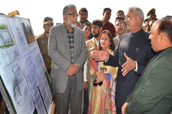 Veeri inspects construction sites for Community Hall in Samba