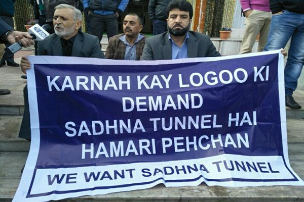 Karnah legislators protest outside Assembly, demand Sadhna Tunnel