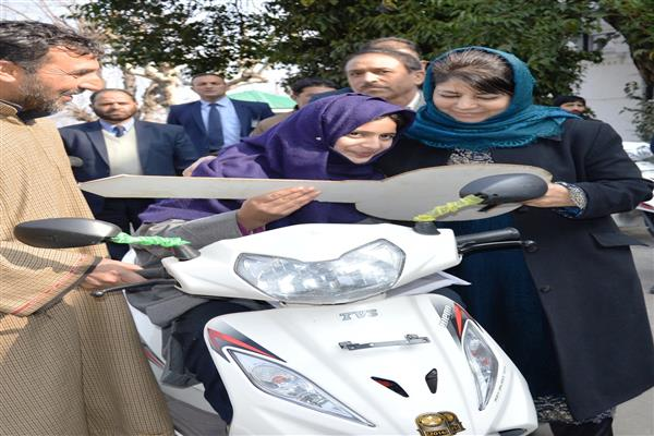 CM hands over motorized bicycles among specially abled youth