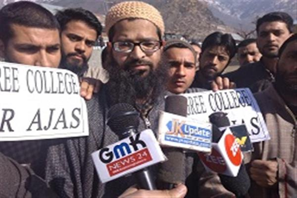 Ajas residents protest to demand establishment of Degree College