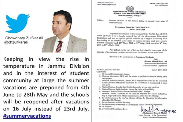 Govt pre-pones vacations for summer zone schools