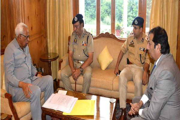 Divisional Commissioner Kashmir, ADGP Law and Order, IGP Kashmir call on Governor