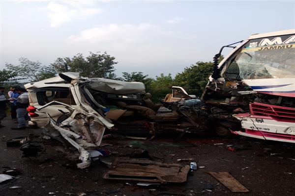 Bus, car collision in Katra, one dead