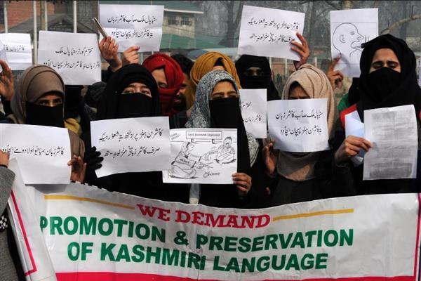 Kashmiri Language Union protests in Srinagar, demands implementation of Govt orders