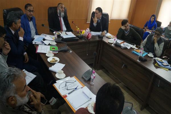 Dir Horticulture Kashmir gives power point presentation during review meeting chaired by Secy Horticulture