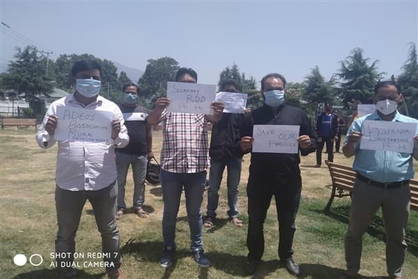 RDD emoloyees protest, demand reservation in posts advertised by the Deptt