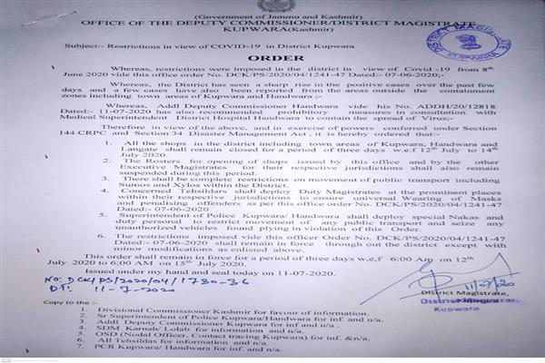 Covid-19 lockdown restrictions return in Kupwara from July 12-14, DC orders