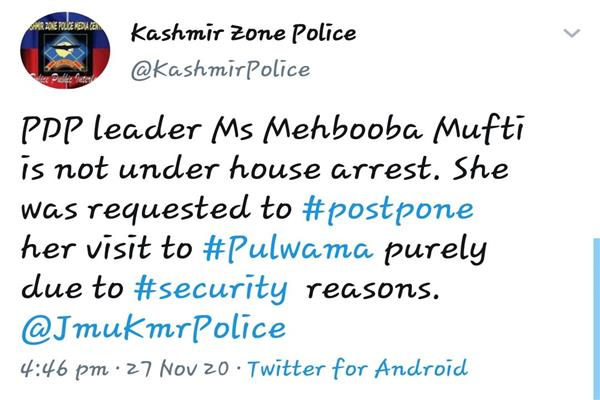 JK police refutes Mehbooba Mufti's  house detention